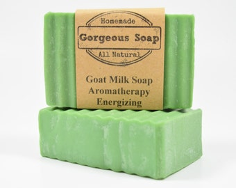 Aromatherapy: Energizing Goat Milk Soap - All Natural Soap, Handmade Soap, Homemade Soap, Handcrafted Soap Aromatherapy Soap Energizing Soap