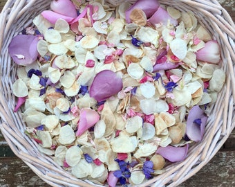 Wedding confetti biodegradable handmixed natural dried petals roses pink ivory purple vintage