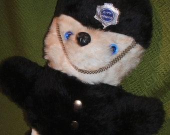 "BRITISH POLICE BEAR Vintage 18"" Plush Stuffed Black & White Teddy Bear Toy"