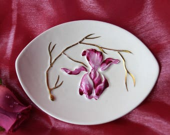 A sweet vintage Carlton Ware butter dish or trinket dish featuring a raised deep pink orchid and gold detail. This would make a lovely gift.