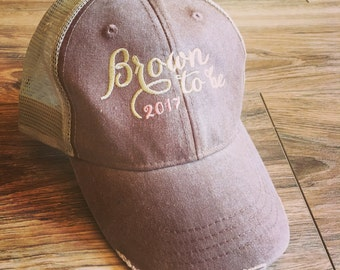 Bride to be trucker distressed hat! Personalized with your new last name and a perfect wedding planning hat! Embroidered and customized!