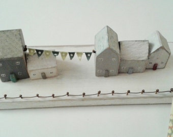 Wooden Village Scene with bunting