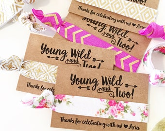 Boho Birthday Party Hair Tie Favors | Young + Wild Birthday Hair Tie Favors, Bohemian Arrow Tribal Hair Tie Favors, Wild One Birthday Favor