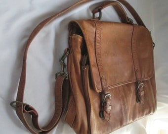 Vtg Natural Leather Briefcase ~ Soft Leather Laptop & Shoulder Bag ~Great Patina