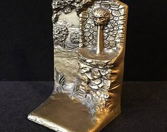 Antique Judd Bronze Art Nouveau Arts and Crafts Bookend Lion Fountain Village