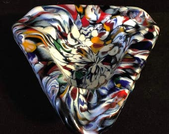 Fab Chunky End of Day Art Glass Ashtray Bowl Murano MCM Modernist