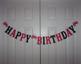 HAPPY BIRTHDAY Letter Banner Red, Black Cardstock Paper Tractor Garland Hanging Door Mantel Wall Party Decor