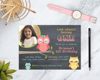 Owl Birthday Invitation, Pink Owl Birthday Invite, Owl Birthday Party, Owl Chalkboard Invitation, DIGITAL FILE