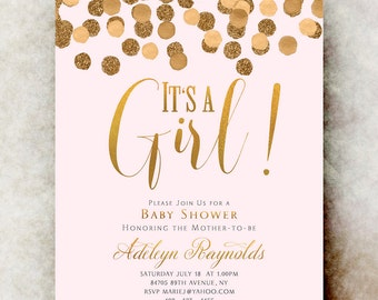 Gold pink baby shower invitation girl - baby girl shower invitation, printable baby shower, unique baby shower invitations