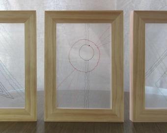 Framed Geometric Art, Triptych, Thread Drawing, Line Drawing, Unique Art, Wall Art, Conversation Piece, Fiber Art, Textile Art, Unusual Art