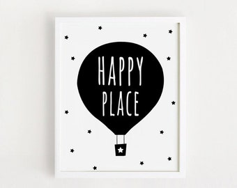 PRINTABLE 11x14 art 30x40 print 5x7, 11x14inch 30x40 cm poster Nursery wall art decor / Large size / Happy place INSTANT DOWNLOAD