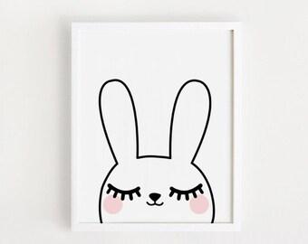 Poster bebe INSTANT DOWNLOAD/ Good night Cute Bunny graphic printable art animal illustration Kawaii baby girls room art print nursery art