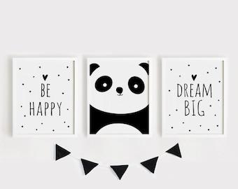 Printable Nursery Art Set of 3 Poster Baby room Wall art Kids room decor Black and White Be happy, Panda, Dream big poster print set