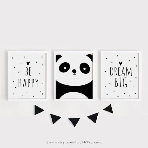 Printable nursery art set of 3 poster baby room wall art kids for Habitaciones minimalistas