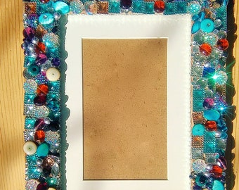 Turquoise & Gold Embellished Photo Frame