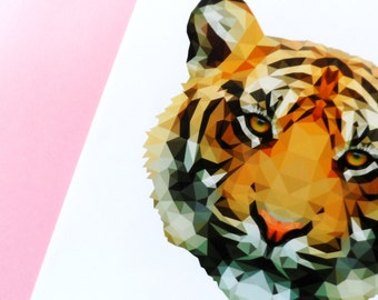 Lowpoly Tiger - Art Print - Animal - A3 - Geometric - Low Poly - Wall Art