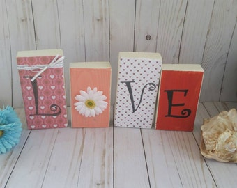 Love blocks, Valentines Day decor, Valentines Day gift, Valentines gift, Love sign