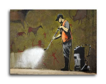 Banksy Cave Power Washer Brushed Aluminum Metal Print