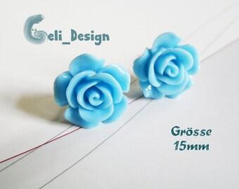 Earrings cabochon Rose Blue
