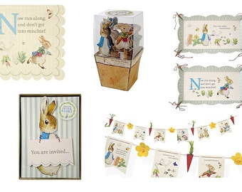 Meri Meri Peter Rabbit Party Tableware. Napkins ~ Invitations ~ Platters - Garland - Picks