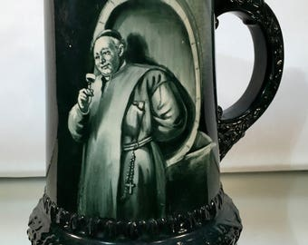 Early LENOX Wine Mug Hand Painted MONK PORTRAIT Sterling Silver Rim Circa 1896-1906