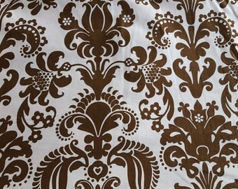 Pink Flower Fabric Vintage Syle Floral Fabric 100% Cotton Pale Pink and Brown Nursery Cotton
