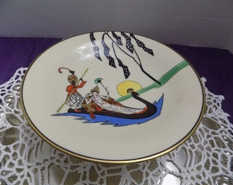 Noritake Art Deco Compote Dish - Morimura Brothers Hand Painted Woman in Peacock Boat Gold Trim - Flawless