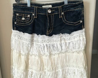 Denim & Lace Upcycled Jean Skirt