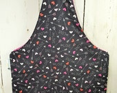 Hearts & Arrows Love Knitting Tote, Knitting Project Bag, Medium Wrist Tote, Reversible Tote, Market Bag, Knitting Sack WTM0005