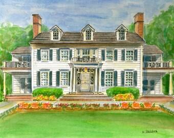 Custom Home Portrait.  Watercolor Painting.  White Beveled Mat.