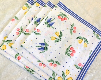 8 Bright Miniprint Floral Pink, Yellow, Blue, Green Spring Summer 100% Indian Cotton Napkins Blue Border