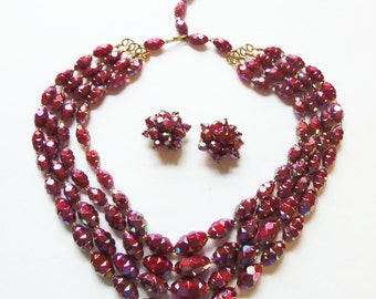 Vintage 1950 Cranberry Multi Strand Necklace and Earrings Made In Austria Jewelry Set  Cocktail Jewelry Summer Jewelry