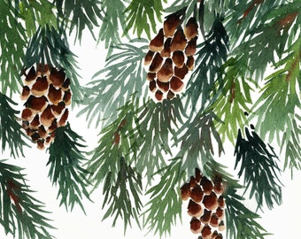 Pine card, pine cone, watercolour, luxury card, snow, winter, trees, leaves, nature