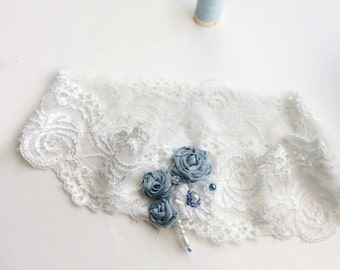 Lace bridal garter with blue roses, a great toss garter or gift for bride to be, Blue Lily Magnolia