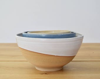 FARMHOUSE Collection: Set of 3 nesting mixing bowls/serving dishes. Handmade, glaze dipped bowls. Modern farmhouse, simple, functional