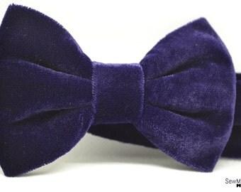 Velvet bow tie, Dark Purple bow tie ,Men's bow tie,Child bow tie, baby bow tie,Pocket square,  handmade accessory, wedding