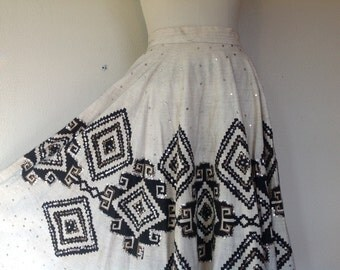 1950s Mexican hand painted circle skirt
