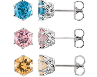 14K White Gold 6MM Round Swiss Blue Topaz Earrings or Honey Topaz Earrings or Pink Topaz Stud Earrings, you choose!