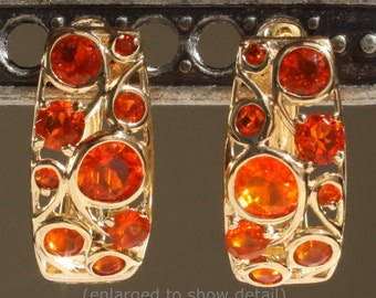 Gorgeous 14K Yellow Gold Mexican Fire Opal Cabachon Hinged Click-in Huggie Earrings