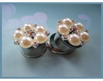 "Pearl and Rhinestone Snowflake Bridal Wedding EAR TUNNEL PLUGS Earring gauge size 7/16"", 1/2"", 9/16"", 5/8"", 11/16"" - 12mm, 14mm, 16mm, 18mm"