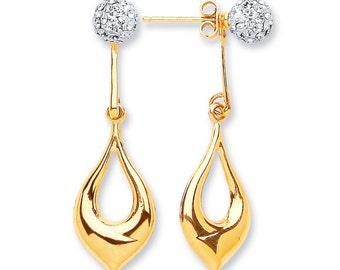 9ct Yellow Gold Pear Shape Drop & Cz Ball Stud Earrings