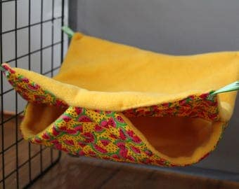 Double Hammock for Little Critters-Yellow/Watermelon Print