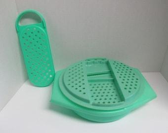 Vintage Plastic Jadite Tupperware Cheese Slider Grater Bowl Set