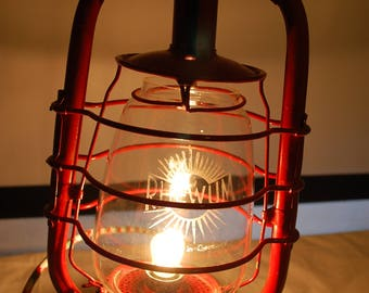 Kerosene Lantern FroWo 105 from 1932-2017 electrically with textile cord and glass from RHEWUM