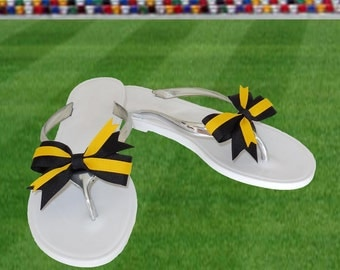 Black + Yellow Bow Jelly Sandals