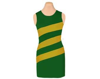Green + Gold Diagonal Stripe Dress