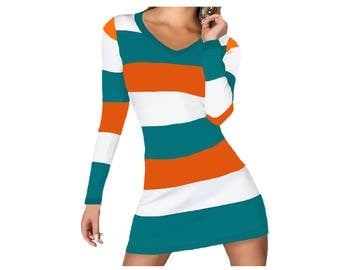 Orange + Aqua Stripe Spirit Dress