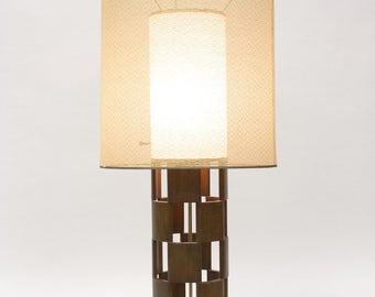 Mid-Century Modern Walnut Fretwork Table Lamp // Double Shade // 1960s