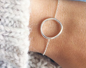 Round bracelet, thin chain sterling silver ring 925/000 - sterling silver bangle