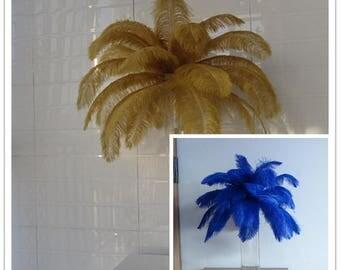 gold and royal blue color,100pcs ostrich feathers, wedding table centerpiece,ostrich centerpiece,ostrich feather centerpiece